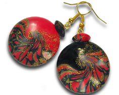 Red black earrings Black red earrings Red by BrightJewelryLIXORI
