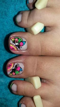 Toe Nail Color, Toe Nail Art, Nail Colors, Cute Pedicure Designs, Toe Nail Designs, Cute Toe Nails, Cute Acrylic Nails, Pretty Pedicures, Summer Toe Nails