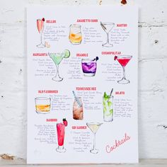 I've just found Cocktail Recipe Watercolour Art Print. Watercolour painting of 11 cocktails and their recipes by Hannah Stoney.. £36.00
