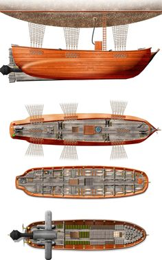 Multiple decks for a sailing ship converted into an air ship for their 1879 steampunk setting. Deck plans of all 3 decks and a side view showing a partial of the overhead dirigible. Completely done in Xara.