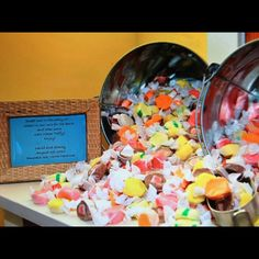As a favor my husband and I wanted to give our guests a sweet and salty treat to remind them of our beach wedding. We creatively displayed the salt water taffy in these silver pails at our reception! Wedding Crafts, Wedding Stuff, Salt Water Taffy, Fort Mill, Candy Wedding Favors, Wedding Inspiration, Wedding Ideas, Maybe One Day, Sweet And Salty