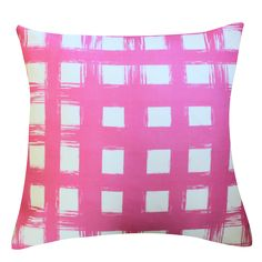 Brush Plaid Orchid Pillow by Clairebella