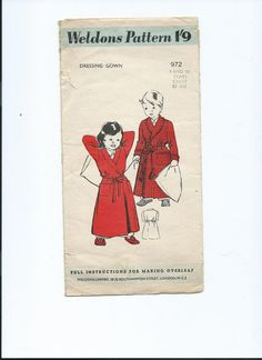 Vintage paper pattern Weldons sewing pattern for by Marcialois, £4.00