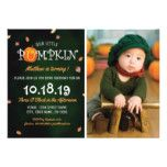 Our Little Pumpkin Photo 1st Birthday Party Card #halloween #happyhalloween #halloweenparty #halloweenmakeup #halloweencostume
