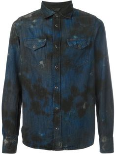 Shop Diesel stained denim shirt  in Jean Pierre Bua from the world's best independent boutiques at farfetch.com. Shop 300 boutiques at one address.