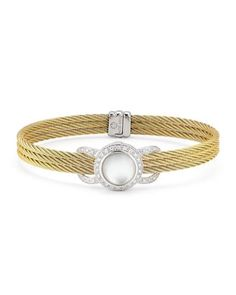 Classique Mother-of-Pearl & Diamond Bangle Bracelet by ALOR at Neiman Marcus Last Call.