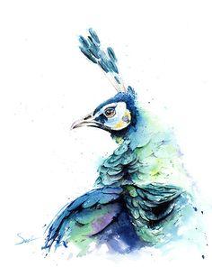 Aquarelle PEACOCK peinture - sticker animaux, peinture originale d'oiseaux, plumes de paon, décor de mur de paon, art de paon