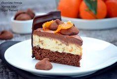 Cake with orange mousse and chocolate mousse Orange Mousse, Romanian Desserts, Chocolate Mousse Cake, Chocolate Cakes, Homemade Cakes, Something Sweet, Cake Recipes, Caramel, Bakery