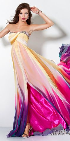 Glamorous Jovani multi-colored evening gown. Spoiled only by the hideous model with the trout pout