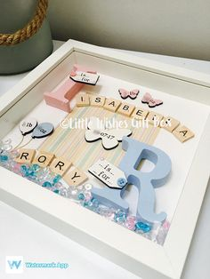 Twins Baby birth child initial box frame New Baby Nursery Scrabble Crafts, Scrabble Frame, Framed Wooden Letters, Baby Nursery Decor, Baby Decor, Baby Design, Baby Band, Twin Baby Gifts, Coloring For Boys