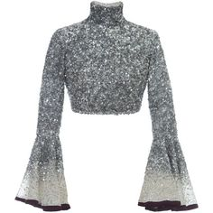 See this and similar Hussein Bazaza tops - This Hussein Bazaza Silk Sequin Cropped Top features a fully embellished design with statement sleeves and a high tur. Cl Fashion, Kpop Fashion Outfits, Mode Outfits, Look Fashion, Fashion Design, Stylish Blouse Design, Stylish Dress Designs, Designs For Dresses, Stylish Dresses