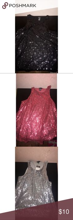 Rue 21 Sparkle Tanks New! I have a red, black, & silver one. $15 for all or $5 a piece Rue 21 Tops