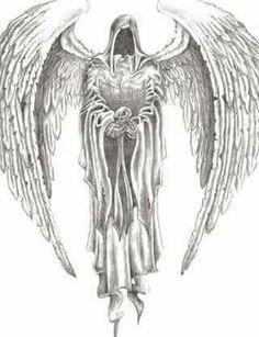 New Dark Art Drawings Demons Death Grim Reaper Ideas Reaper Drawing, Kunst Tattoos, Bild Tattoos, Body Art Tattoos, Angel Of Death Tattoo, Fallen Angel Tattoo, Angels Tattoo, Devil Tattoo, Skull Art