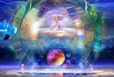 Teleportation. Surreal-art,Fantasy-Art,consciousness-art,Dolphins,Whales,fairies,souls. Jean-Luc Bozzoli art
