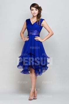 femme robe de cocktail bleu royal col en v en mousseline - Robe Bleu Electrique Mariage