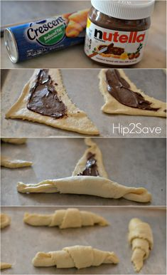 How to make nutella crescents Desserts Nutella Crescent Rolls Nutella Snacks, Nutella Breakfast, Yummy Snacks, Snack Recipes, Cooking Recipes, Yummy Food, Healthy Nutella Recipes, Nice Breakfast, Chef Recipes