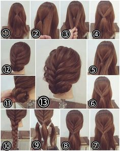 Flechtfrisuren - braided Hair - Haare Zopf Hochsteckfrisur, lange Haare Another activity that's popu Party Hairstyles For Long Hair, Up Hairstyles, Braided Hairstyles, Easy Updos For Long Hair, Hairstyle Ideas, Hairdos, Medium Hair Updo Easy, Step By Step Hairstyles, Hairstyles For Short Hair Easy