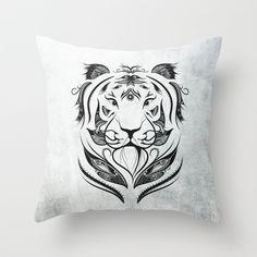 Tiger Plucked Throw Pillow #art #loujah #society6 #throwpillows #homedecor  #coussin