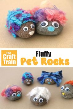 Fluffy pet rocks : Make the most adorable pet rocks with fluffy yarn scraps for hair. This is a fun rock craft idea that kids will love, perfect for rainy days or as a summer camp craft. The finished pet rocks make a sweet kid-made gift idea! Camping Crafts For Kids, Yarn Crafts For Kids, Summer Camp Crafts, Rainy Day Crafts, Kids Diy, Summer Day Camp, Summer Kids, Pet Craft, Summer Crafts