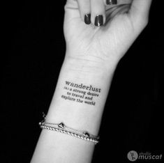 What does wanderlust tattoo mean? We have wanderlust tattoo ideas, designs, symbolism and we explain the meaning behind the tattoo. Trendy Tattoos, Cute Tattoos, New Tattoos, Body Art Tattoos, Small Tattoos, Awesome Tattoos, Celtic Tattoos, Simple Wrist Tattoos, Meaningful Wrist Tattoos