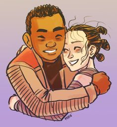 Rey and Finn from Star Wars The Force Awakens