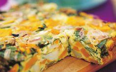 Pumpkin, spinach and fetta frittata