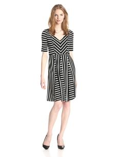 Flippy Striped Fit-and-Flare Dress by Maggy London
