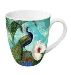 14-Ounce Kashmir Exotic Peacock Porcelain Mug $16.30 www.allthingspeacock.com