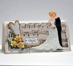 Bride and Groom with hearts and sheet music Table Cards, Place Settings, Place Cards, Wedding Inspiration, Bride, Bags, Google, Sheet Music, Hearts