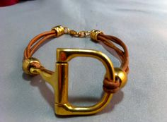Gold Plated Snaffle Bit on Natural Brown Leather by GryphonDesigns, $60.00