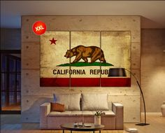 LARGE 3 panels / boards wrapped stretched california flag california republic flag californien canvas Giclee Art fine art Repro wall art