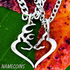 Buck and Doe Necklace Deer Hunting Jewelry Hand Cut by NameCoins, $49.99