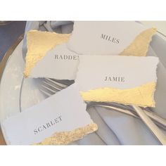 Gold-foiled escort cards