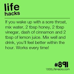 Sore Throat Remedy - 1000 Life Hacks - Improve your life one hack at a time. 1000 Life Hacks, DIYs, tips, tricks and More. Home Health, Health Tips, Health And Wellness, Health Fitness, Tips And Tricks, Cold Remedies, Natural Health Remedies, Simple Life Hacks, Useful Life Hacks