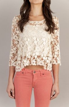 Cute white lace shirt and pink jeans