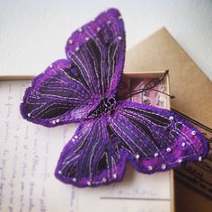 Items similar to Butterfly brooch/pin embroidered silk wingspan Mono Morpho on Etsy Purple Accessories, Embroidered Silk, Brooch Pin, Etsy Store, Moth, Bugs, Insects, My Etsy Shop, Fabrics
