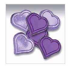 Purple Foiled Peanut Butter Filled Chocolate Hearts: 40-Piece Tub