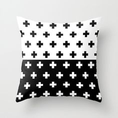 30 colours, Swiss Cross Half Half YIN YANG Pattern Pillow Cover, Union pattern decor, Black and White, Geometric plus sign Cushion cover