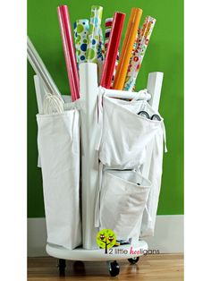 Upside-down storage solution. http://www.ivillage.com/diy-gift-wrapping-stations/7-a-534479?cid=tw|05-05-13