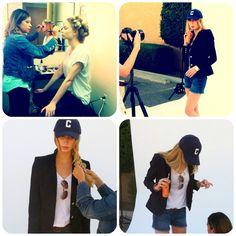 {Behind the Scenes} Spring / Summer 2013 Shoot | Two Penny Blue | photoshoot | cubs hat | navy blazer | aviators | makeup | via blog.2pennyblue.com
