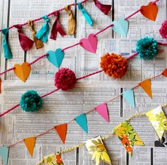 10 Ways to Make a Garland! Really neat, and looks a lot better than the cheap, flimsy store-bought garland (and more customized and personal)!