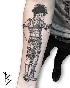 Engraving style Edward Scissorhands tattoo done at the Colmar tattoo convention.