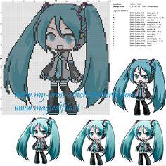 Hatsune Miku (Vocaloid) cross stitch pattern