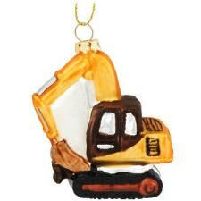 Excavator Glass Ornament