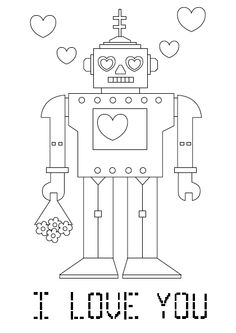 robo i love you valentine coloring pages printable and coloring book to print for free. Find more coloring pages online for kids and adults of robo i love you valentine coloring pages to print. Printable Valentines Coloring Pages, Printable Valentines Day Cards, Valentines Day Coloring, Printable Coloring Pages, Love Coloring Pages, Coloring Sheets For Kids, Coloring Books, Colouring, Free Coloring