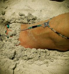 Turquoise, Black and Silver Foot Jewelry with Swarovski Crystals by FootJewelrybyDanya on Etsy