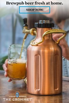 A pressurized growler with its own system acts like a mini keg to keep craft beer tasting fresh—and ready to serve—for up to two weeks. Gifts For Beer Lovers, Beer Gifts, Cocktail Videos, Beer Brewing Kits, Brew Pub, Beer Tasting, How To Make Beer, Brewery, Distillery