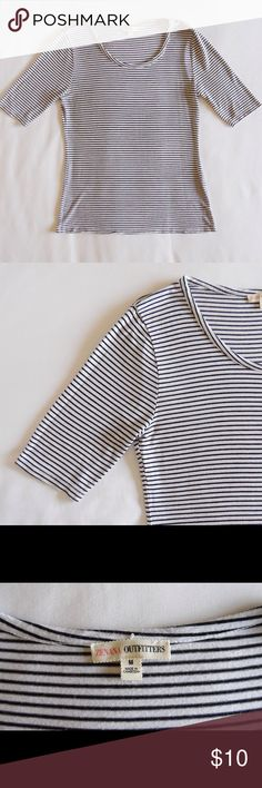 Essential Striped Tee Strips are totally in trend this year - buy this today and it'll be a staple in your closet all year long. Soft stretchy fabric makes this a comfy tee to wear out and about or to sleep in as a cute PJ top when your visiting family over the holidays. Tops