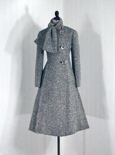 beautiful vintage Evening Coat, Pauline Trigere: 1960's, lined wool tweed, scarf-tie collar.