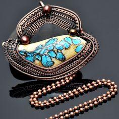 wire wrap pendant,wire weave,wire work,lampwork,artisan glass,freshwaterpearl,copper jewelry,handmade jewelry,one of a kind jewelry,nicole hanna jewelry